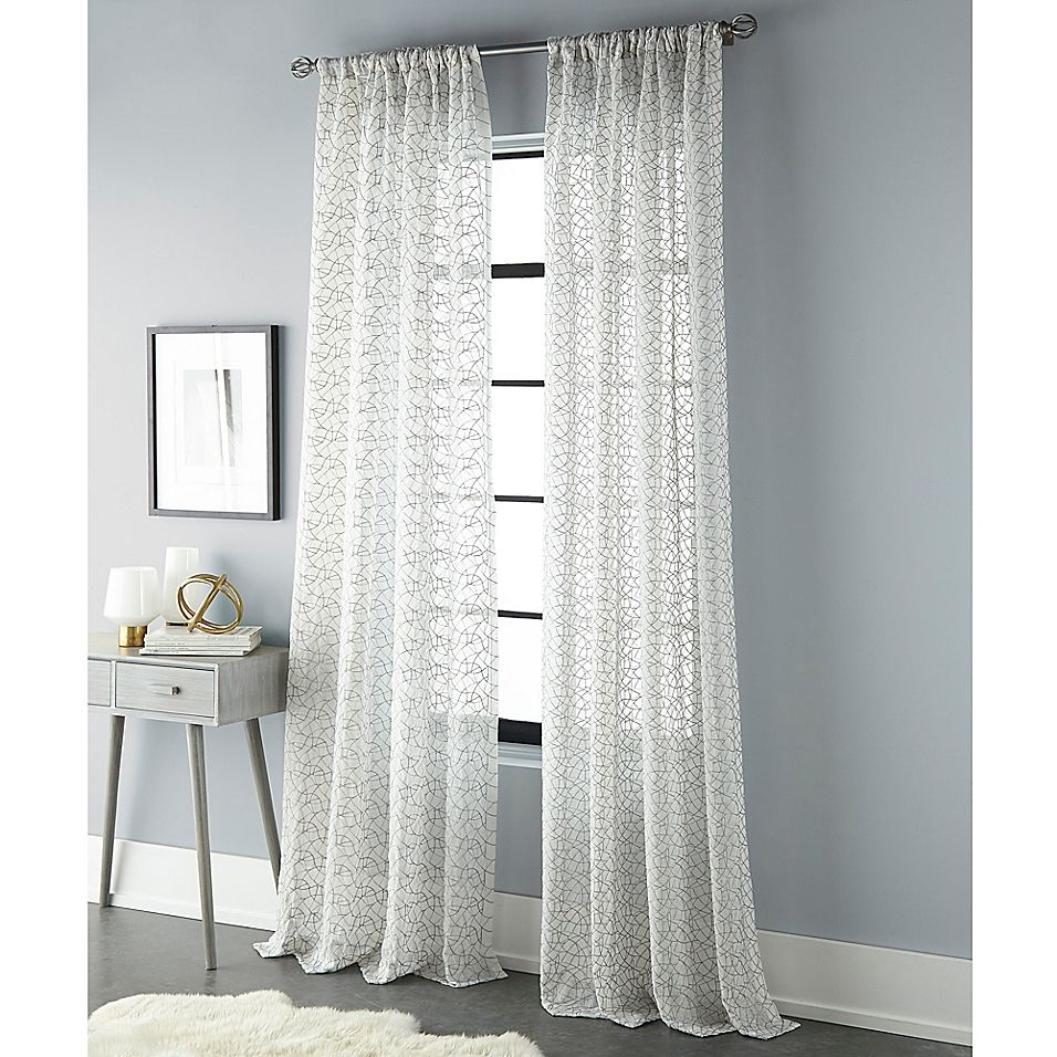 Sherry Kline Geo 96 Rod Pocket Back Tab Sheer Window Curtain Panel In Natural Silver Panel Curtains Curtains Sheer Curtain Panels