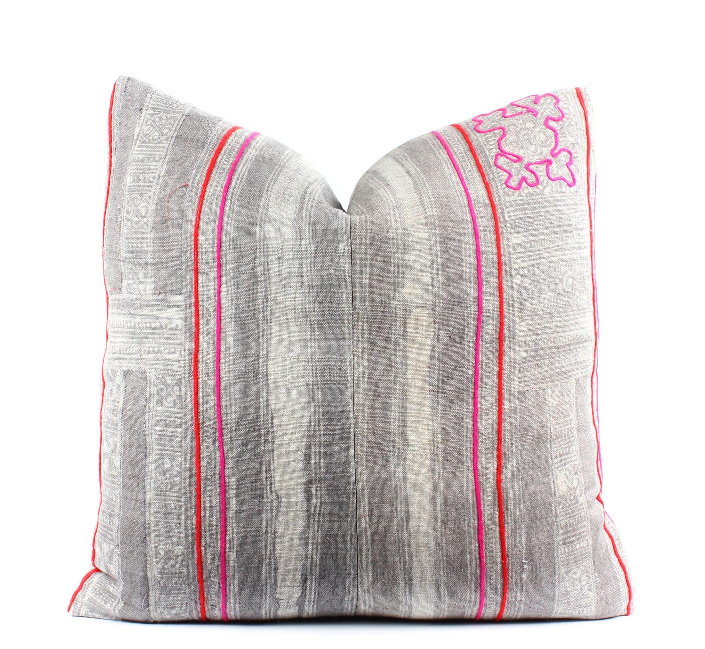 Vintage hmong gray batik pillow cover boho pillow textile pink
