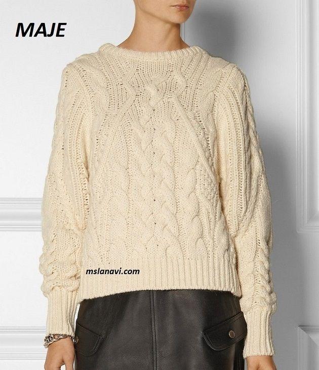 Вязаный свитер спицами от MAJE   Пуловер и Свитер   Pinterest ...
