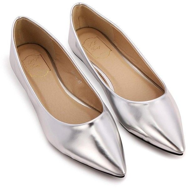 b8a5d1123ed Yoins Shiny Pointed Flat Shoes-Silver US 6.5 US 7 US 7.5 ( 31) ❤ liked on  Polyvore featuring shoes