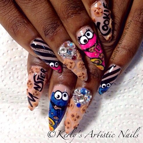 Cookie Monster Nails by KerlysNails - Nail Art Gallery ...