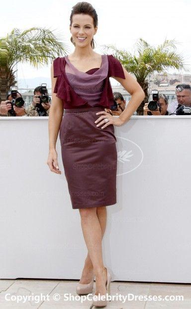 Kate Beckinsale-2010 Sheath/Column Knee-length Satin Chiffon Chiffon Organza Cannes Film Festival Dresses (SCD517)
