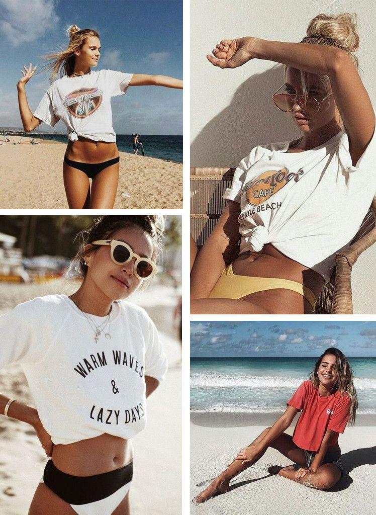 Tendências Moda Praia Verão 2019  Biquíni com Camiseta ou Moletom 725e4f459d0