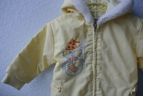 Vintage Toddler Snowsuit  Yellow Hooded Snowsuit by NellsNiche, $25.00