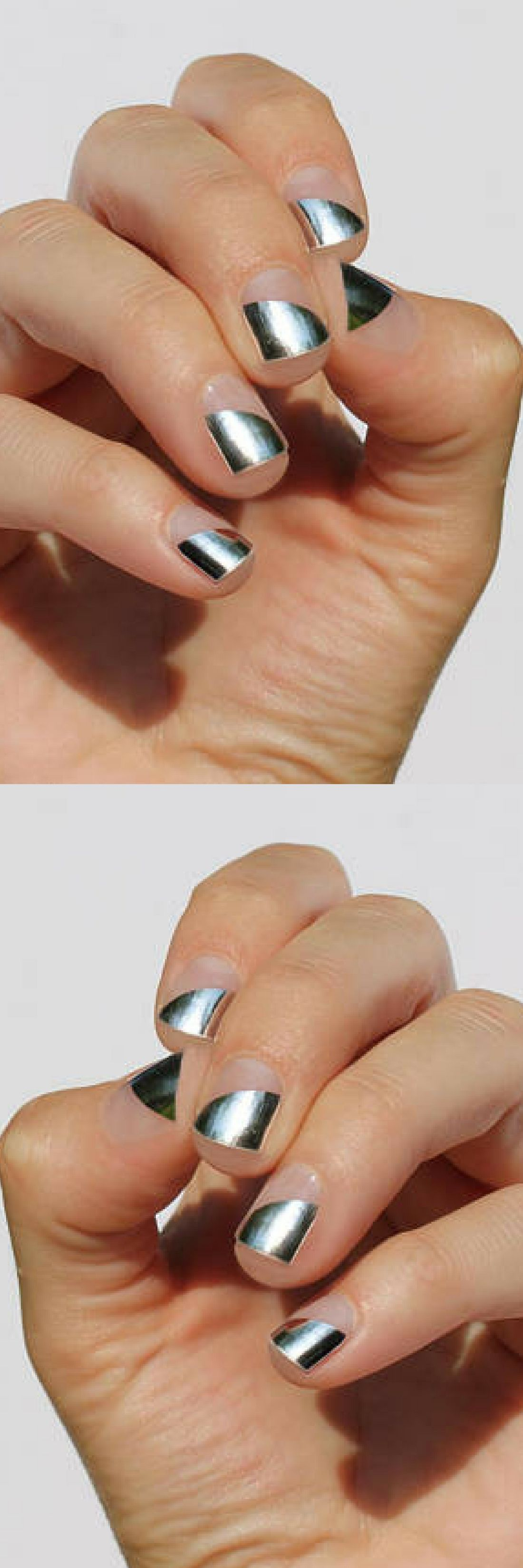 Silver Modern French Nail Wraps Just heat, stick & file your way to ...