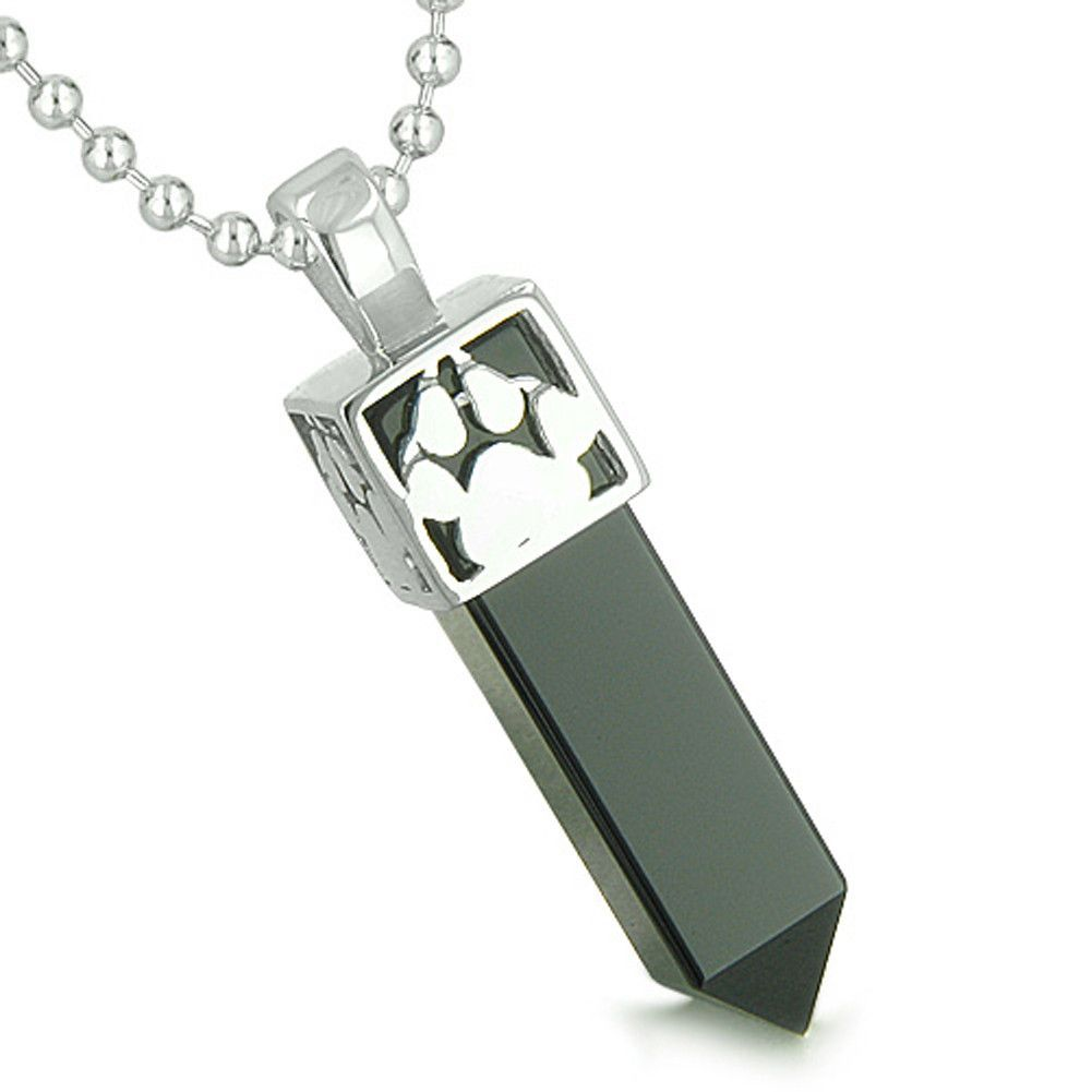 Amulet Reversible Wolf Paw Kanji Simulated Black Onyx Crystal Crystal Point Pendant 18 Inch Necklace