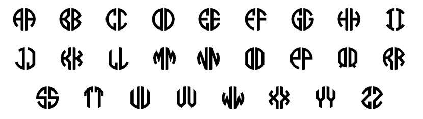 Sizes Two Letter Circle Monogram Font