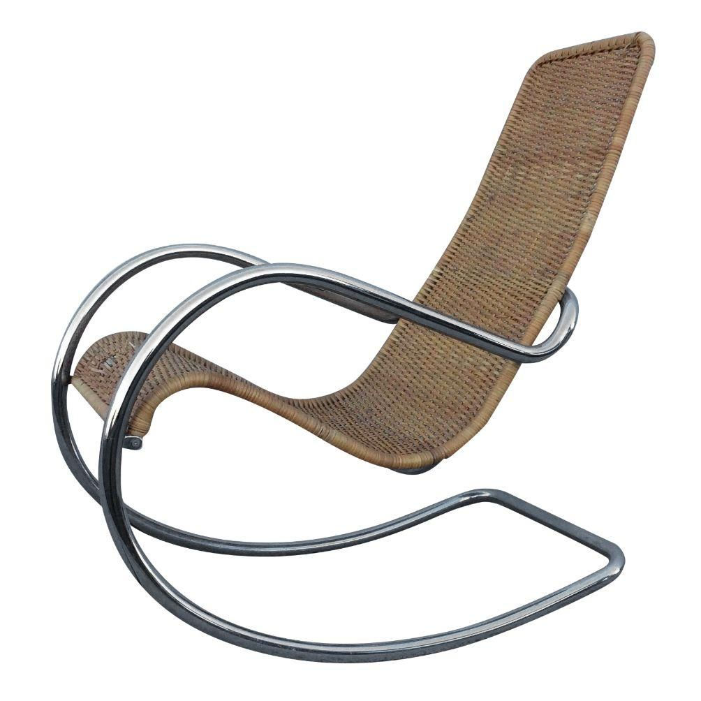 Price reduced sturdy wooden vintage rocking chair made in yugoslavia - 1970s Modern Italian Chrome Rocking Chair