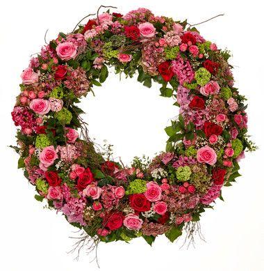 Couronne Rose Vert Beerdigung Blumen Blumengestecke Kranz