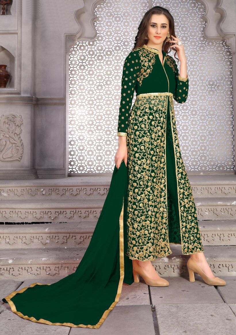 596eea5641 907030 Green color family Party Wear Salwar Kameez in Bangalore Silk, Net  fabric with Machine Embroidery, Thread work .
