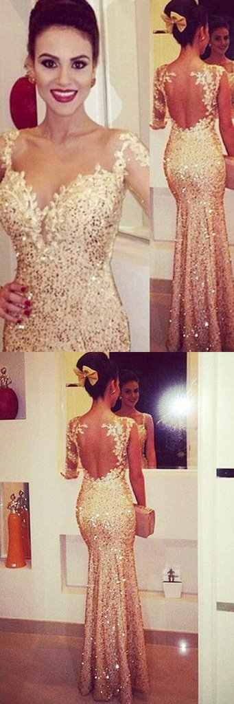 a80c2c023b02 Mermaid Sweetheart Long Sleeves Gold Backless Evening/Prom Dress With  Appliques