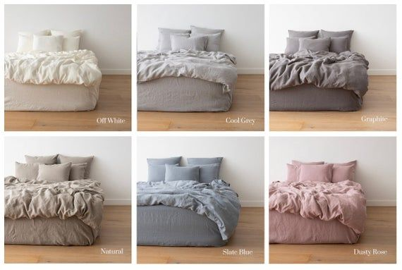 Washed Linen Duvet Cover Various Colours Queen King And Etsy In 2021 Bed Linen Sets Washed Linen Duvet Cover Linen Duvet Covers