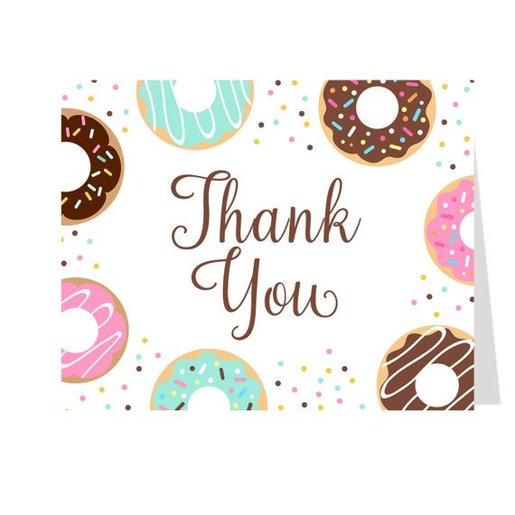 Donut, Baby Shower, Thank You Cards, Girl, Pink, Sprinkles, Chevron Stripes, Polks Dots, Green, Yell #businessthankyoucards