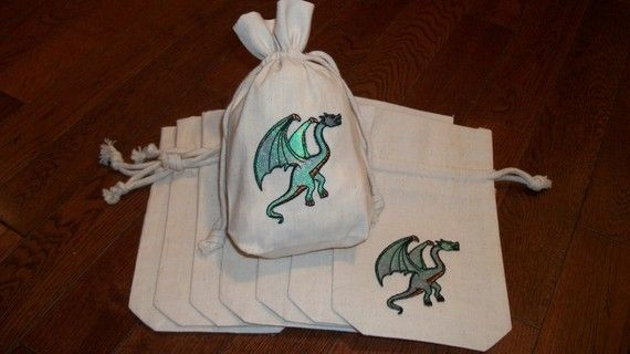 Shimmering Dragon Goody Bags Set of 8 Natural Muslin bags with