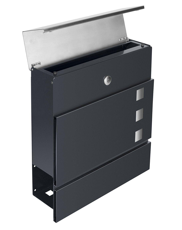 Frabox Design Briefkasten Lens Edelstahl Anthrazitgrau Exklusiv