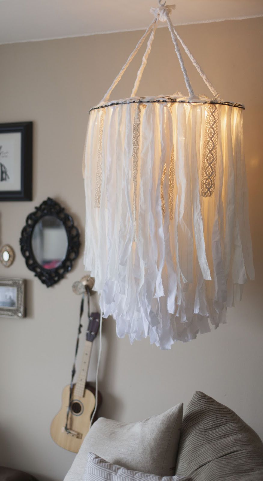 Cloth chandelier | Boho Sweet Home | Diy chandelier, DIY ...