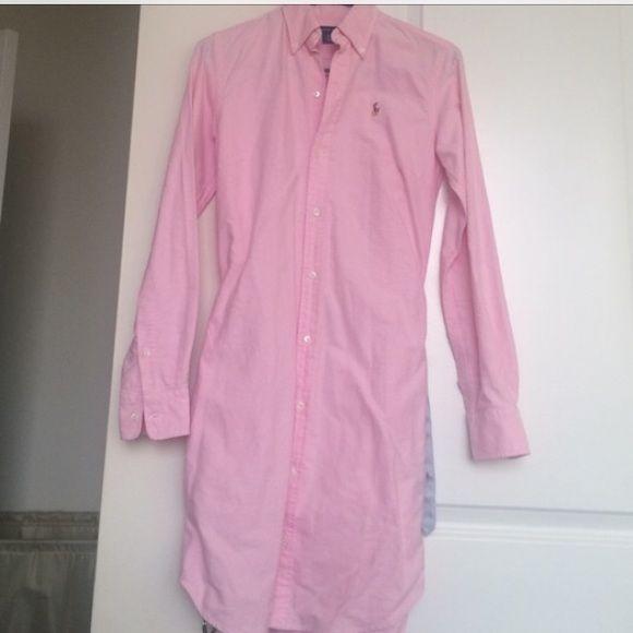 Shirt dress with ribbon belt. Light pink Ralph Lauren shirt dress with a blue ribbon belt. Perfect for summer. Dress it up or down!! Worn once Ralph Lauren Dresses