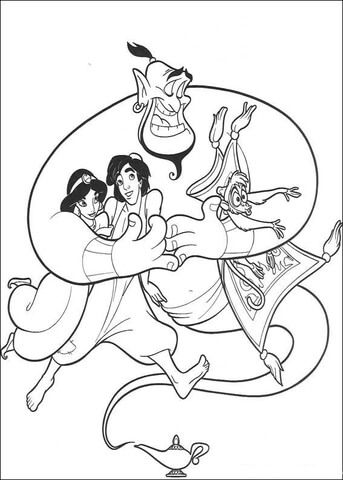 aladdin jasmine abu and the carpet coloring page for the kids