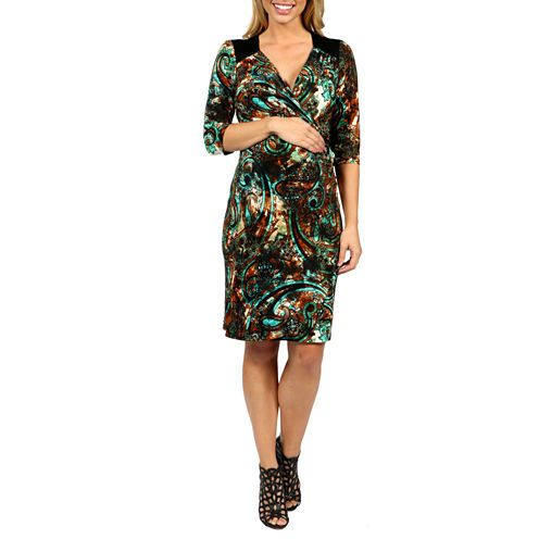 FREE SHIPPING AVAILABLE! Buy 24/7 Comfort Apparel Peacock Pretty And Brilliant Style Wrap Dress-Maternity at JCPenney.com today and enjoy great savings. Available Online Only!