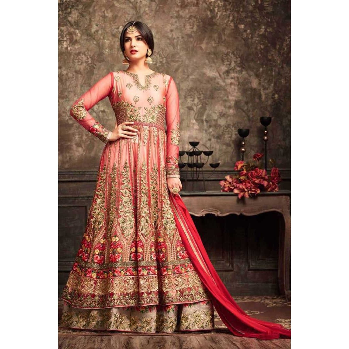 Buy awesome net anarkali suit with dupatta red color now in shop
