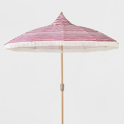 Find Product Information, Ratings And Reviews For 9u0027 Striped Patio Umbrella  With Fringe   Pink U0026 White   Opalhouse™ Online On Target.com.
