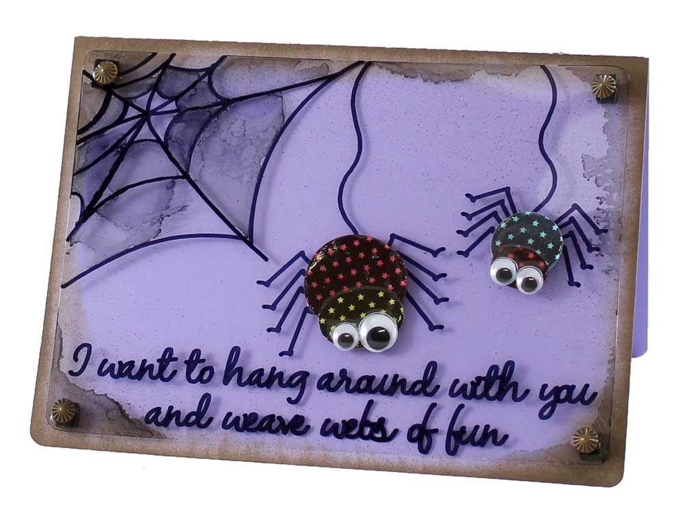 Hanging Out Spider Halloween Card. Free WPC, SVG, AI Cutting Files To Create