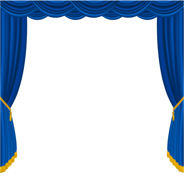 Transparent Blue Curtains Decor PNG Clipart