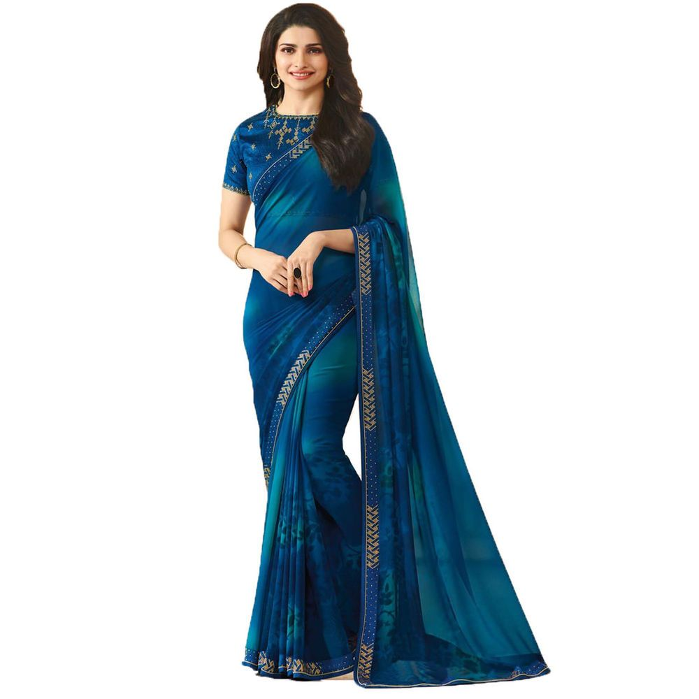 Party Wear Bollywood Designer Blue Color Georgette Stone Work ...