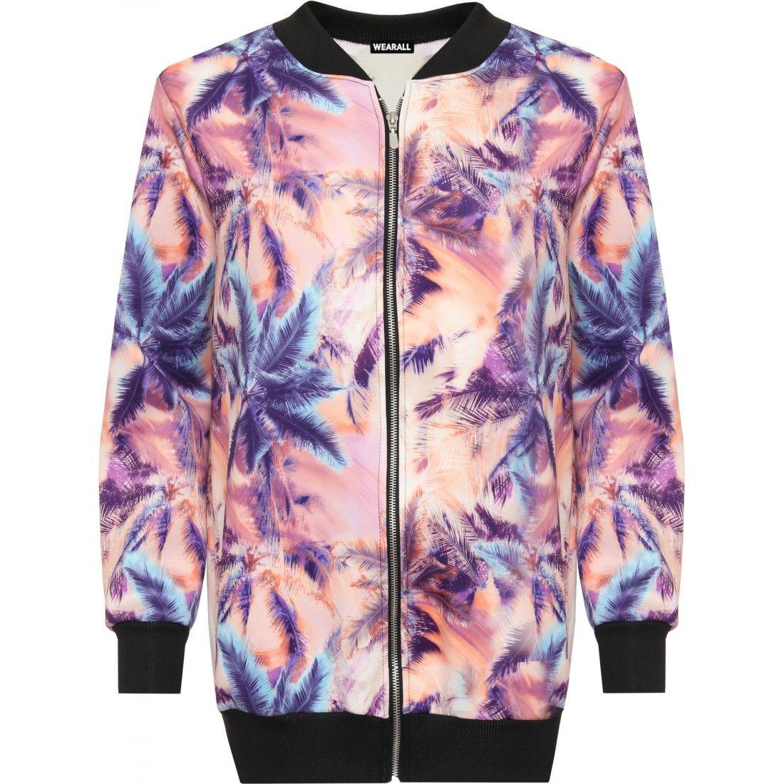 WearAll Womens Plus Floral Bomber Jacket Ladies Top Rose Print Long Sleeve Zip Stretch 14-28
