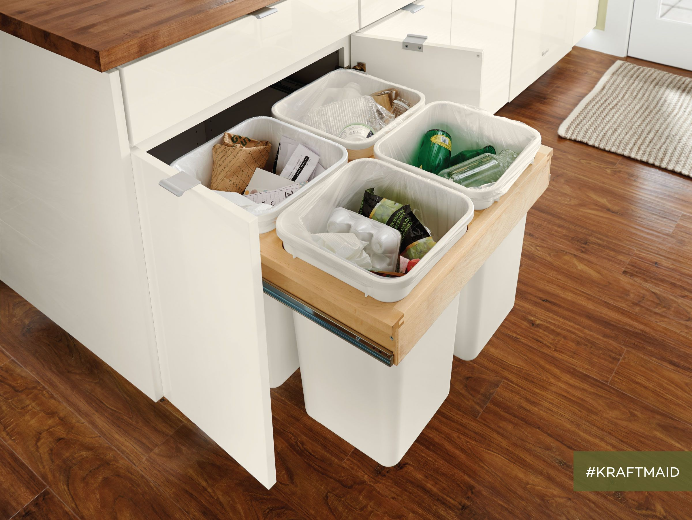 recycling station recycling station rustic kitchen design craftsman kitchen on kitchen organization recycling id=69038