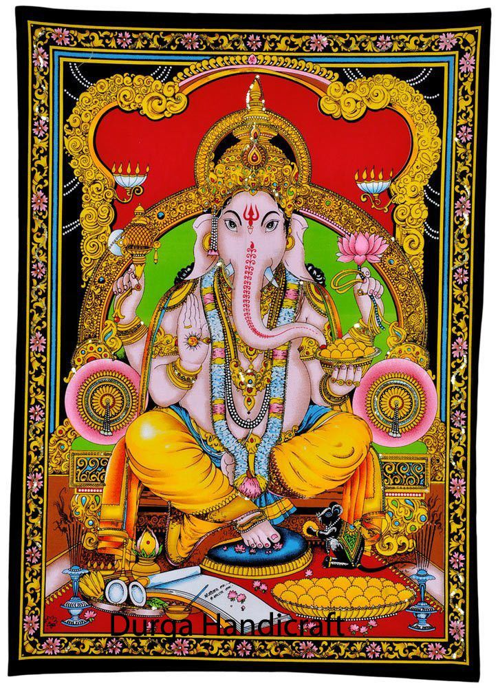 Lord Ganesha Ganpati Indian Tapestry Wall Hanging Throw Poster Hippy Hippie God Handmade Artdecostyle Posterwall Hindu Elephant Indian Tapestry Elephant God