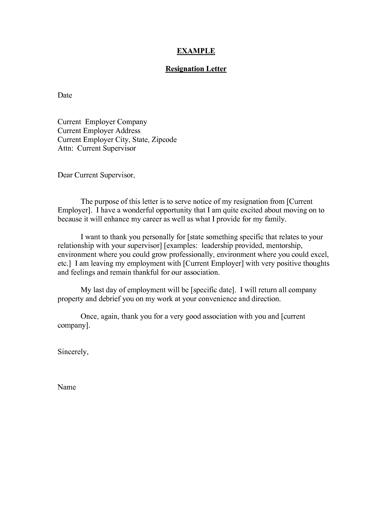 an example of a resignation letter to the employer