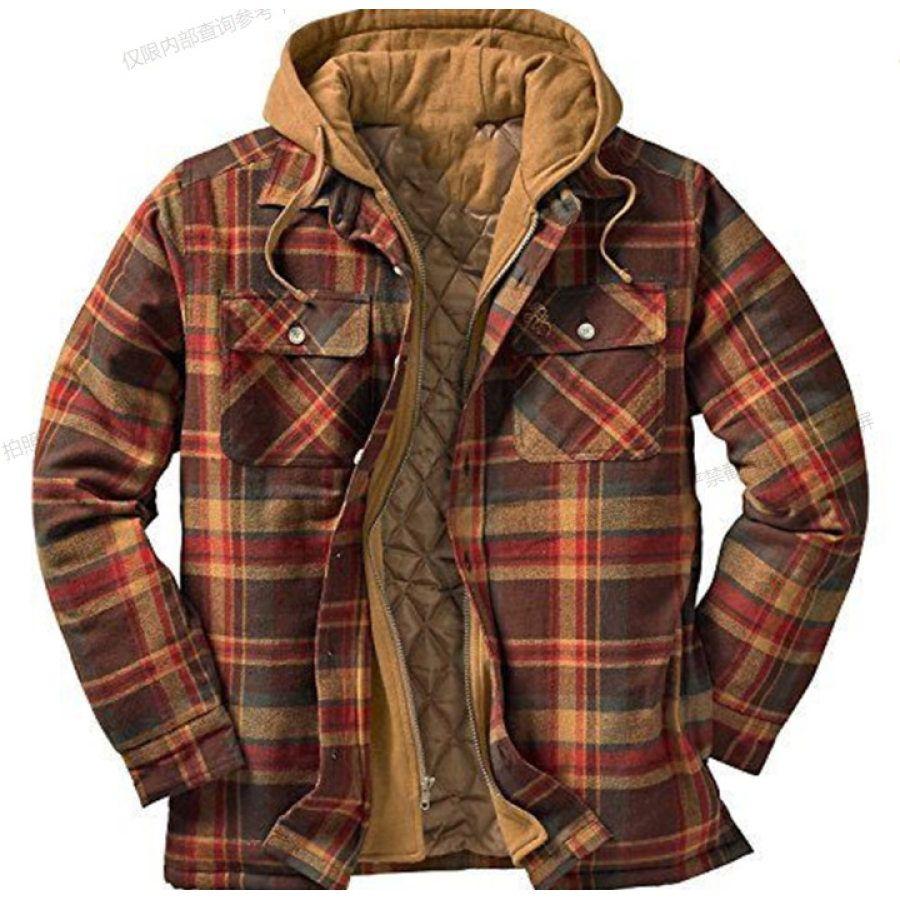 Button Plaid Hooded Casual Mens Jacket Salolist Com In 2021 Shirt Jacket Men Mens Flannel Shirt Hooded Flannel [ 900 x 900 Pixel ]