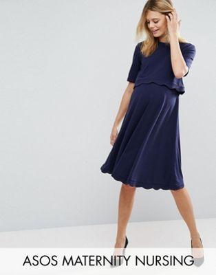 Maternity – TALL NURSING – Kurzärmliges Kleid mit Muschelkante ...