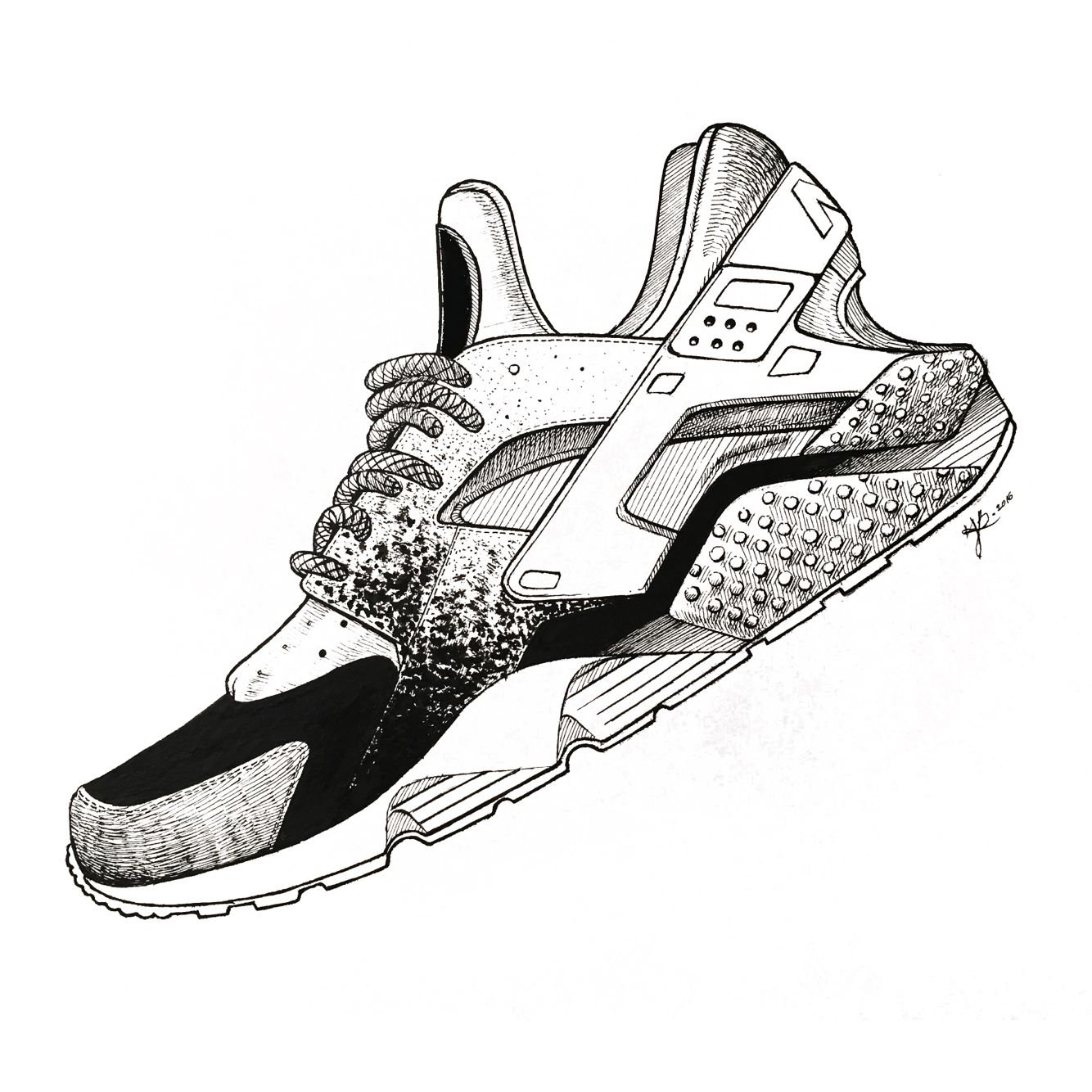 huge selection of e0b05 b9051 Yoonahbae.com sneaker illustration nike hurache Chaussure Nike Huarache,  Sketch Manga, Sneakers Wallpaper