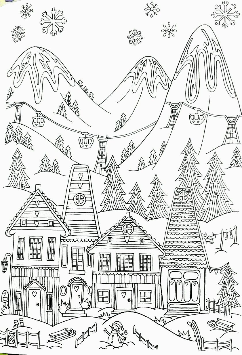 Whimsical Winter Ski Resort Adult Coloring Page Coloring