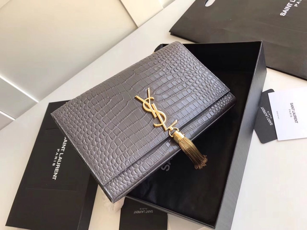 3f9d80d305a1 Saint Laurent CLASSIC MEDIUM KATE TASSEL SATCHEL IN GREY CROCODILE EMBOSSED  SHINY LEATHER WITH GOLD HARDWARE - Bella Vita Moda #ysl bag #ysllover ...
