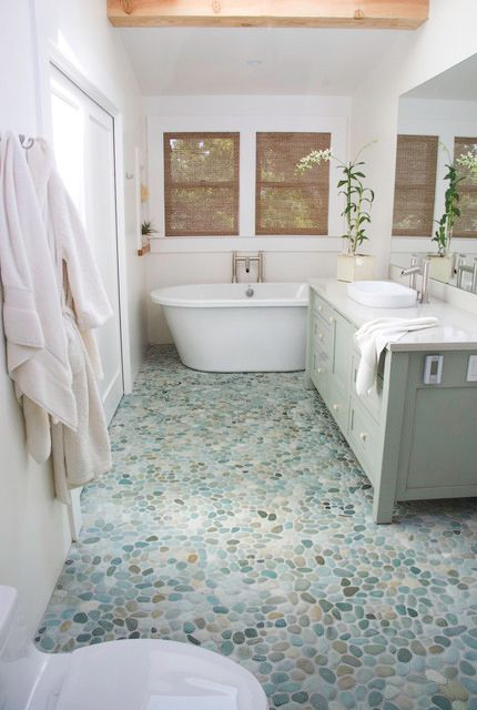 Pin By Home And Stone On Beach Glass River Rock Bathroom