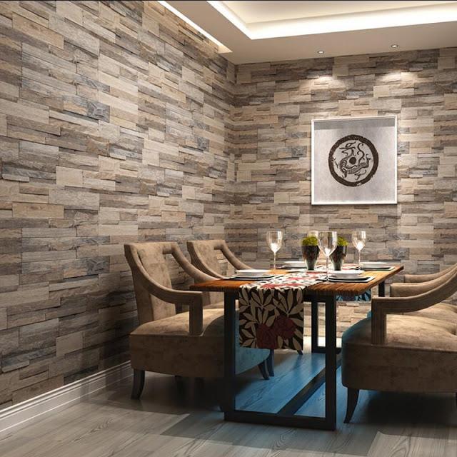 Feature 3d Fake Wall Stone Effect Wallpaper Decorating Ideas Fake Walls White Brick Walls Wall Design
