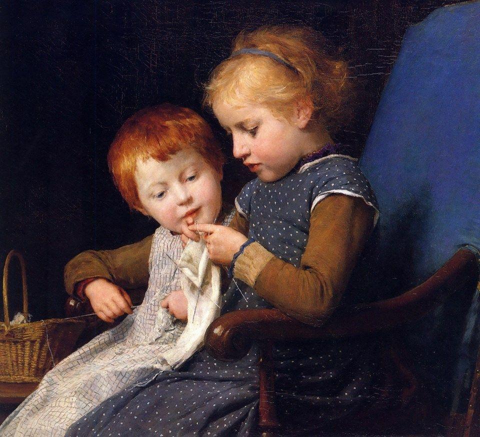 Albert Anker - The little knitters - 1892