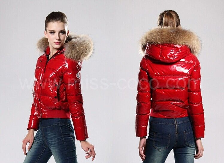 69f7415ba Bright Red Short Moncler Jacket for Women with Large Racoon Fur ...