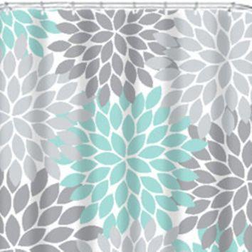 Coral Aqua Gray SHOWER CURTAIN Flowers Custom MONOGRAM Personalized Floral Burst Bathroom Decor Bath Beach Towel