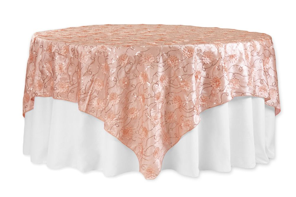 Round Table Overlays.Flower On Sequin Taffeta Table Overlay 90 X90 Blush Rose Gold In