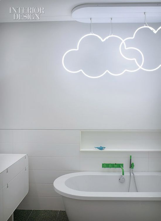 A Bathroom With Neon Clouds? Cute For Kids Bathroom