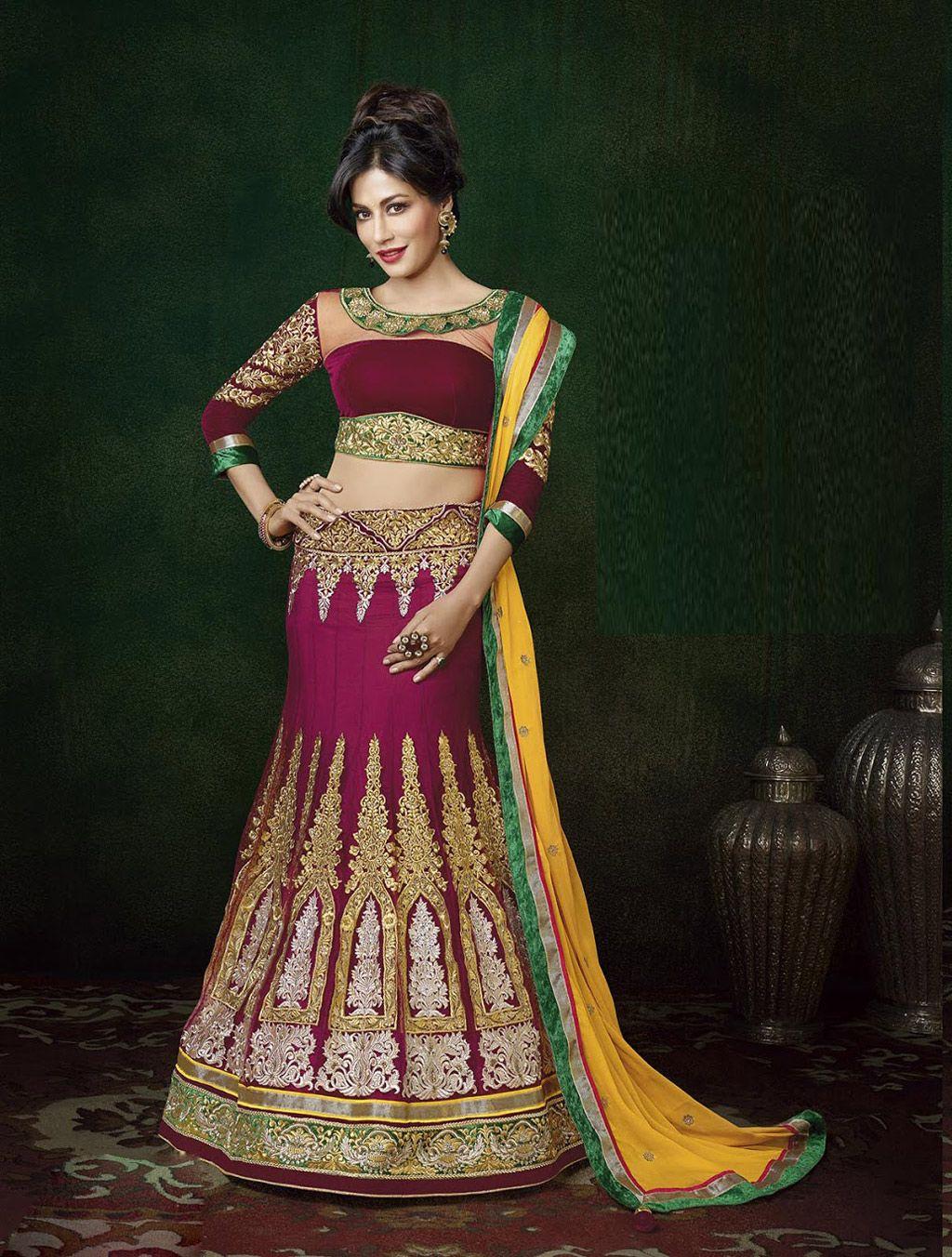 Chitrangada singh maroon net wedding lehenga choli wedding