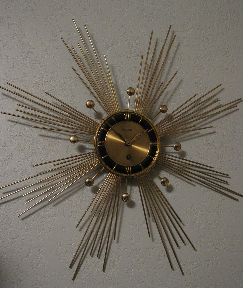 Mid Century Atomic Sun Starburst Wall Clock By Forestville Sunburst Clock Mid Century Modern Clocks Mid Century Clock