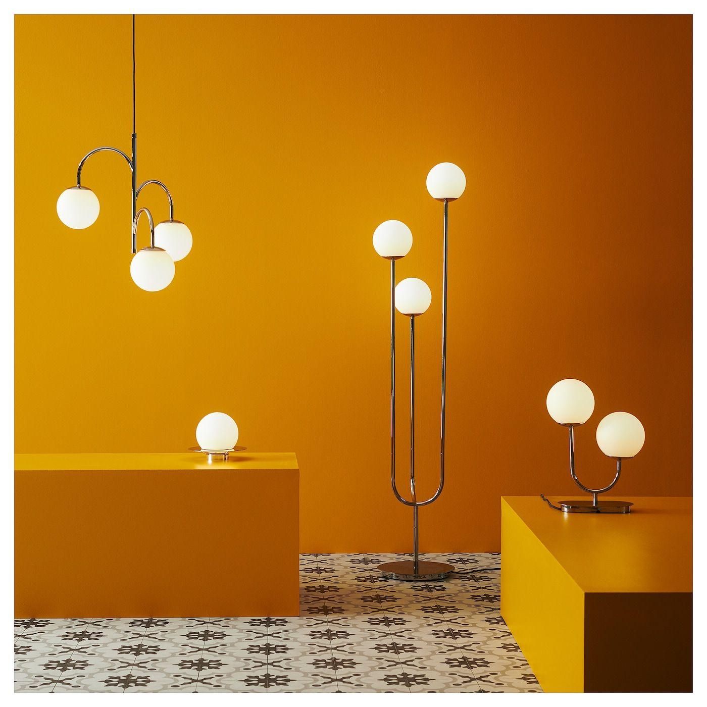 Simrishamn Floor Lamp With Led Bulb Chrome Plated Opal Glass Ikea In 2020 Chrome Lamp Wall Lamp Floor Lamp