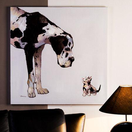 kunst f r das wohnzimmer oder schlafzimmer casablanca lbild hund katze braunschw wei. Black Bedroom Furniture Sets. Home Design Ideas