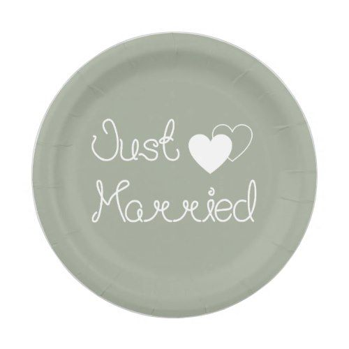 Gray Just Married With White Hearts Wedding Paper Plate  sc 1 st  Pinterest & Gray Just Married With White Hearts Wedding Paper Plate | Grey ...