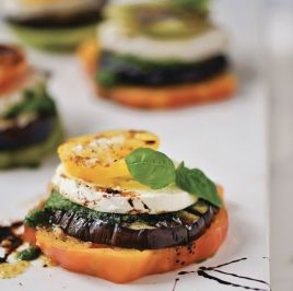 Eggplant, Tomato and Mozzarella Stacks with Pesto Sauce and Balsamic Reduction
